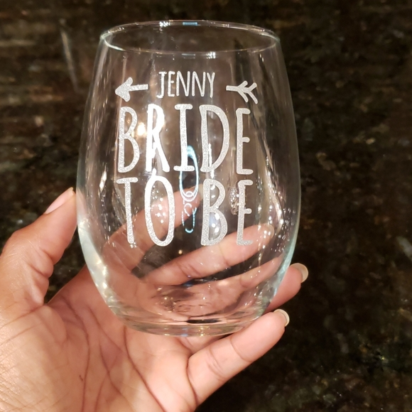 Bling (Jenny) Bride to be wine glass!